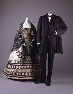 1868 clothes for a fashionable couple.
