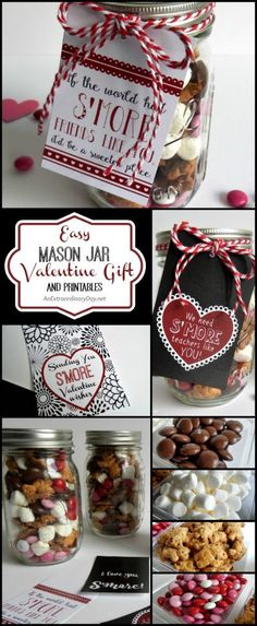 Create Easy Mason Jar Valentine's Day Gifts and Free Printables from AnExtraordinaryDay.net | | Bless your friends and family with these sweet and so easy S'mores Valentine's Day snack mixes in a Mason jar. They are quick and easy to assemble and Valentine's Day lovers and haters are going to love them. Make a bunch and make someone's day!