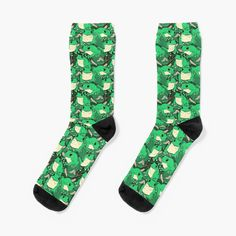 'Treefrog Bonanza' Socks by spazzynewton My Socks, Crew Socks, Designer Socks, Frogs, Looks Great, Printed, Knitting, Heels, Awesome