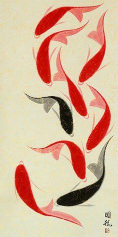 Nine Koi Fish Wall Scroll