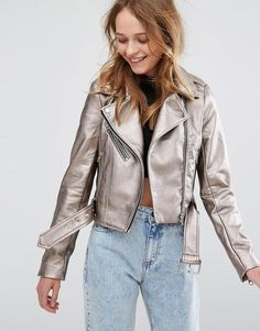 Silver Leather Jacket, Leather And Lace, Metallic Leather, Leather Fabric, Online Shop Kleidung, Androgynous Look, Mode Online Shop, Blazers, Asos