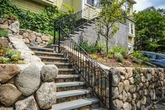 Stone walls, steps and railings