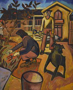 NIGEL BROWN Home Gardener No. 2 elements are line patterns, mark, tone principle are composition, variety, balance Asymmetrical Balance, Nz Art, Madhubani Art, Maori Art, Brown Art, Doodles Zentangles, In The Tree, Doodle Art, Art Education