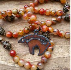 Bear Fetish, bear totem, bear power, bear necklace, totem mala, totem prayer beads, totem rosary, totem necklace, pagan prayer beads by MagickAlive on Etsy