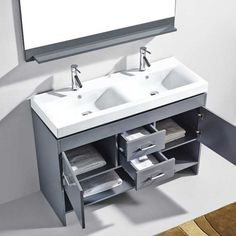 Virtu USA - MD-423-C-GR - Gloria 48 in. Bathroom Vanity Set Close Up