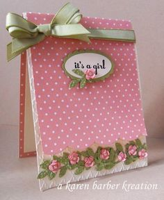 New Baby Girl Cards Handmade Bows 33 Ideas Baby Girl Cards, New Baby Cards, Baby Shower Cards, Baby Kind, Pretty Baby, Flower Cards, Flower Stamp, Kids Cards, Cute Cards