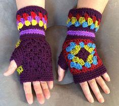 Mittens Crochet fingerless gloves Granny squares mittens Finger-less Gloves Multicolor mittens Hand warmers Crochet mittens KALEIDOSCOPE Gloves Gloves Crochet Granny Squares by YarnAndBeadsDesign Granny Square Crochet Pattern, Crochet Stitches Patterns, Crochet Squares, Crochet Granny, Granny Squares, Fingerless Gloves Crochet Pattern, Fingerless Mittens, Knitted Gloves, Crochet Hats