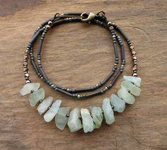 Rough Aquamarine Necklace, light blue raw stone and brass jewelry