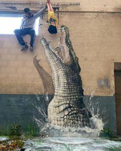 Streetart News [wall – Grafodeco, Uneak, Shamsia Hassani Urban Street Art, 3d Street Art, Amazing Street Art, Street Art Graffiti, Street Artists, 3d Wall Art, Mural Art, Art 3d, Arte Banksy