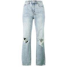 Ksubi The Slim Pin high waist ripped jeans (€280) ❤ liked on Polyvore featuring jeans, denim, blue, high waisted destroyed jeans, slim fit jeans, high waisted blue jeans, high rise jeans and high waisted ripped jeans