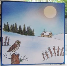 using Lindsay Mason stamps 'build a snowy scene'