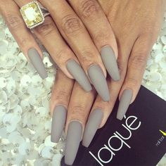 Matte taupe coffin nails. Wanna try this but in a stiletto shape. Photo from @laquenailbar on Instagram.