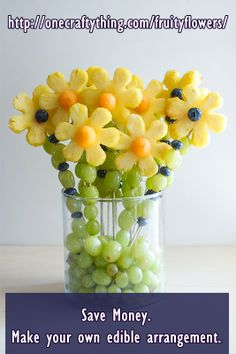 An edible arrangement like the one in the picture can cost $50 or more. Even at the cost of a pineapple, a cantaloupe, some grapes, blueberries, a flower cookie cutter, skewer sticks , a glass/plastic vase and some cello wrap from the dollar store, you will still come out way cheaper by making this arrangement yourself rather than buying it.