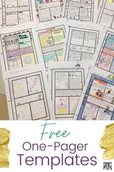 """One-pagers are a great activity whether you're in class or remote. Students get to demonstrate their understanding through both words and imagery, and they tend to have fun doing it! And don't worry, the step-by-step instructions and templates will make it accessible even to your self-professed """"art-haters."""" You an sign up for four free templates with complete instructions and rubric at Spark Creativity by clicking this pin. 