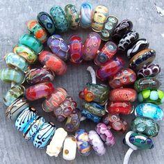 MruMru handmade lampwork beads SRA, lot of 48 plus cute OWL bead. More will be added. Glass beads, charms fit pandora, troll, biagi, big hole. European charms for bracelets.