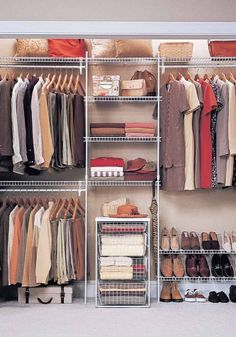Make the most of closet space with wire shelving and accessories. You can outfit an entire closet in one morning. #closet #organizing