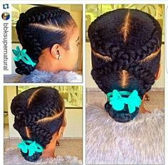 I love this quick and easy #naturalhair #hairstyle created by @bbksupernatural . If you can't #cornrows,  here's how https://youtu.be/aNxfCYpvBZA #quicknaturalhairstyles