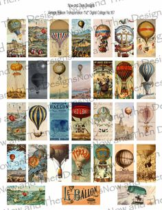 Vintage Hot Air Balloon Montgolfiere 1x2 Digital Collage no.167