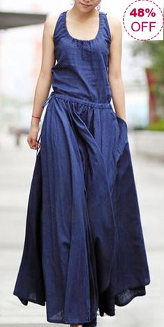 UP TO 48%! Casual Pure Color Irregular Drawstring Waist Sleeveless Dresses For Women. SHOP NOW!