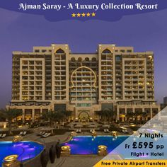 Ajman Saray, A Luxury Collection Resort is an excellent 5 star luxury resort located on the #Ajman #Beach near #Dubai. Hotel offers free wifi in all the rooms. Reserve your stay at this hotel only with Home and Away Holidays. For More Details call our holiday experts on 0116 237 2565. http://bit.ly/AjmanSarayResort
