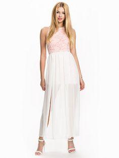 Lace & Chiffon Maxi Dress - John Zack - Ivory - Feestjurken - Kleding - Vrouw - Nelly.com