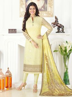 Ayesha Takia Yellow Georgette Kameez With Churidar 107966 Bollywood Lehenga, Bollywood Dress, Churidar Suits, Salwar Kameez, Anarkali Suits, Punjabi Suits, Culture, Party Wear Sarees, India Fashion