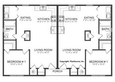 2 bed / 1 bath design with eat-in kitchen and covered front entry. Cottage House Plans, Cottage Homes, Semi Detached, Detached House, Duplex Floor Plans, Workout Rooms, Bath Design, Investment Property, Townhouse