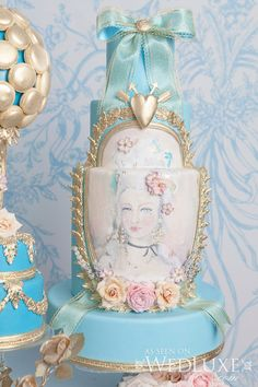 Opulence reigns with this tribute to the Kirsten Dunst drama, Marie Antoinette. Gorgeous Cakes, Pretty Cakes, Cute Cakes, Amazing Cakes, Cameo Cake, Cake Photography, Painted Cakes, Occasion Cakes, Birthday Cakes