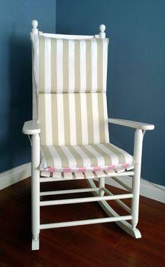 Rocking Chair Cushion   Taupe Stripe Pink Blue by RockinCushions, $75.00