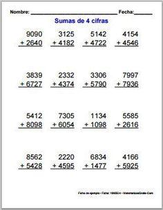 Fichas de sumas y restas por niveles