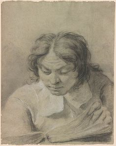 Giovanni Battista Piazzetta, 1682-1754. Portrait of a Man Reading. Black chalk, heightened with white chalk, on blue laid paper. 17 x 13 1/4 inches (432 x 337 mm)   Drawings Online   The Morgan Library & Museum