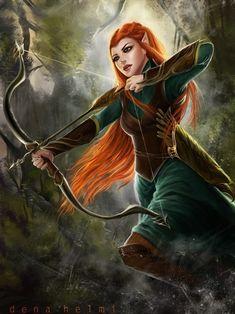 Hobbit : Tauriel Hot Digital Art by Dena Helmi Tauriel, Fantasy Portraits, Character Portraits, Fantasy Artwork, Art And Illustration, Illustrations, Weiblicher Elf, Animal Art Projects, Elfa