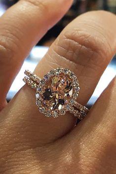 30 Morganite Engagement Rings We Are Obsessed With ❤️ morganite engagement rings oval cut halo wedding et ❤️ See more: http://www.weddingforward.com/morganite-engagement-rings/ #weddingforward #wedding #bride #engagementrings #morganiteengagem