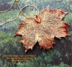 Real Leaf Jewelry Sugar Maple Leaf New Autumn Rose Gold Patina - exclusive design from WoodSmith
