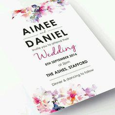 Invitación de boda estilo floral y moderno