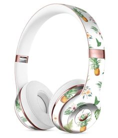 The Tropical Pineapple and Floral Pattern Full-Body Skin Kit for the Beats by Dre Solo 3 Wireless Headphones – Age Spots Cute Headphones, Sports Headphones, Cute Pineapple, Beats By Dre, Apple Products, Bluetooth Headphones, Audiophile, Phone Accessories, Givenchy