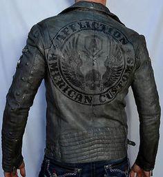 0166f1958b55 Affliction American Customs Reborn Men 039 s Leather Jacket 10OW464  Gunmetal   eBay Herren Mode,