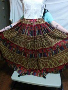 SALE! WITH FREE SHIPPING! Tribal Hippie Skirt Drawstring Waist 100% Cotton Zero Zero Size M Large Sweep  | eBay
