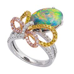 Austrian Opal Ring set with diamonds.