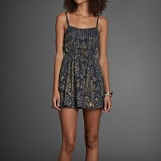 Nwot Abercrombie Navy Gold Dress