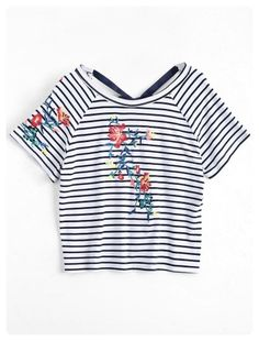 Floral Embroidered Striped Bowknot Top (Stripe)