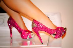 blinged out hot pink/silver heels