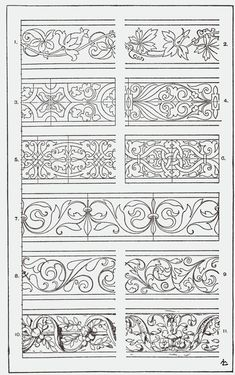 "From, ""A Handbook of Ornament"". 1898 by Franz Sales Meyer. Border Design, Pattern Design, Bordado Jacobean, Carving Designs, Leather Pattern, Illuminated Manuscript, Illuminated Letters, Pyrography, Islamic Art"