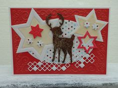 """Weihnachtskarte """"Sterne und Reh"""" von UNIKAT-die Kreativ-Werkstatt auf DaWanda.com"""