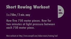 Short rowing workout from #Concept2's #WorkoutOfTheDay.