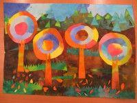 Podzimní krajina - kombinovaná práce (malba, koláž) :: M o j e v ý t v a r k a Painting, Art, Art Background, Painting Art, Paintings, Kunst, Drawings, Art Education