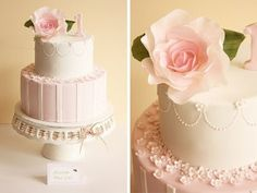 vintage rose first birthday cake by Cake Ink. (Janelle), via Flickr