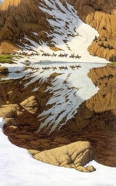 The reflection looks like an eagle flying.looks just like a Bev Doolittle painting. Art Et Nature, All Nature, Amazing Nature, One With Nature, Amazing Photography, Nature Photography, Photography Storytelling, Native American Art, Optical Illusions