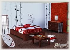 Asian Inspired Bedrooms | Beautiful Asian inspired bedroom set @ SIMcredible Sims3