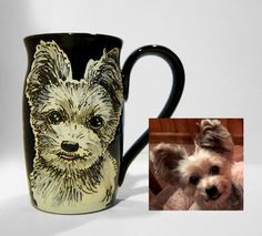Dog Portrait Mug-This was the second dog I did for a customer that wanted two mugs made for some friends of hers for Christmas. https://www.etsy.com/shop/SusanAltenauPottery?ref=listing-shop-header-item-count